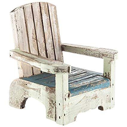Amazon.com: Small Blue & White Rustic Wood Beach Chair Decor: Home