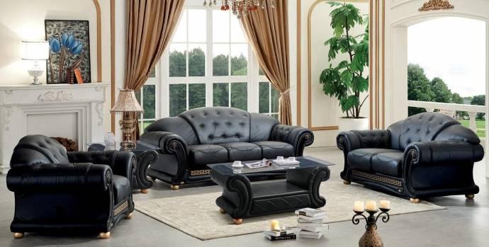 Genuine Leather Sofa Loveseat Chair Set 3Pcs Contemporary Luxury ESF