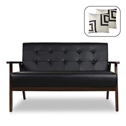 Amazon.com: Mid-Century Modern Solid Loveseat Sofa Bed Upholstered