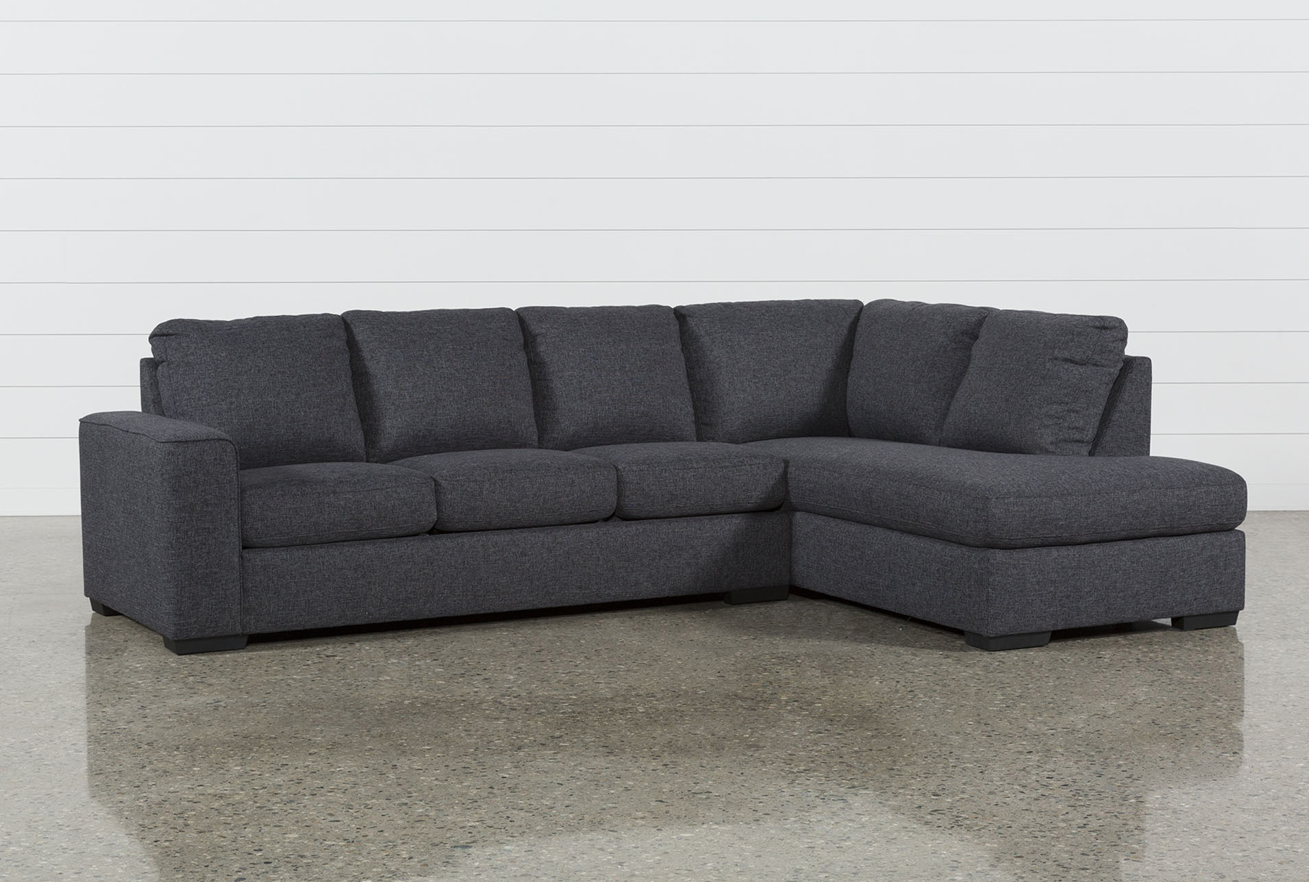 Lucy Dark Grey 2 Piece Sleeper Sectional W/Raf Chaise | Living Spaces