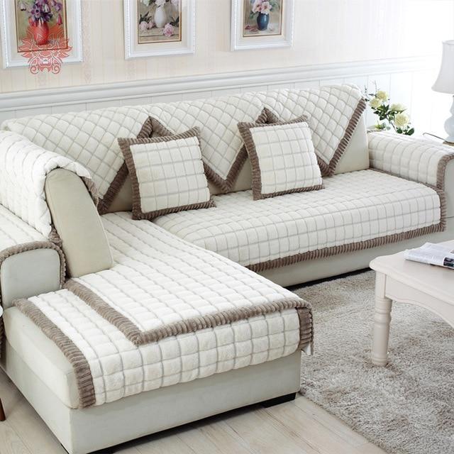 White grey plaid plush long fur sofa cover slipcovers fundas de sofa