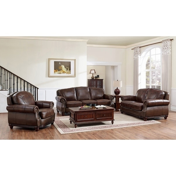 Shop Mesa Brown Leather Sofa, Loveseat and Chair Set - On Sale