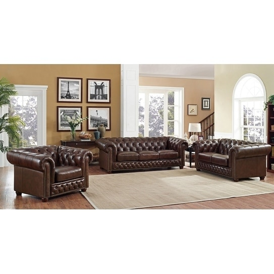 Shop Yuma Brown Leather Tufted Sofa, Loveseat and Chair Set - On