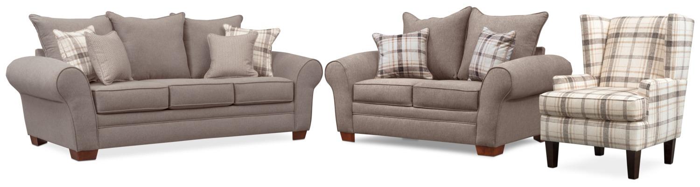 Rowan Sofa, Loveseat and Accent Chair Set - Gray | Value City