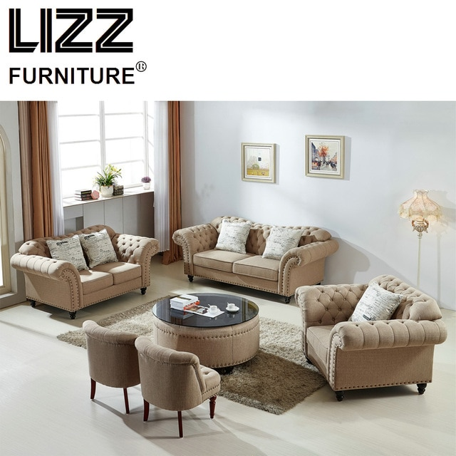Classic Sofa Loveseat Chair Fabric Sectional Sofa Set Living Room