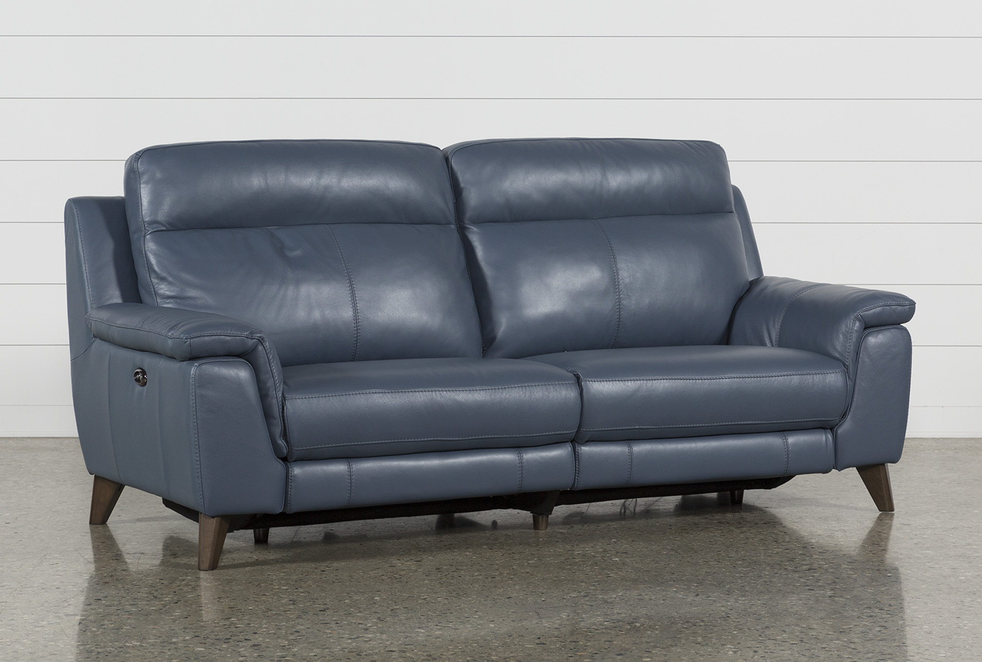 Moana Blue Leather Dual Power Reclining Sofa With Usb | Living Spaces