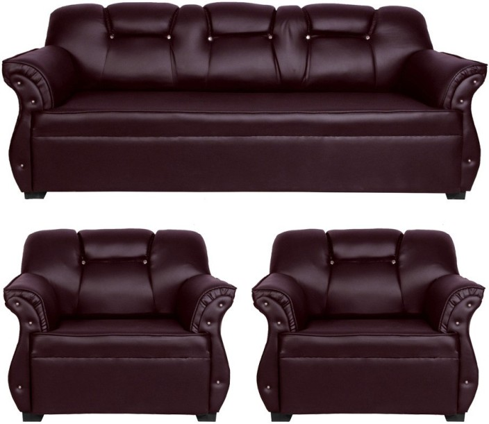 HOMESTOCK Leatherette 3 + 1 + 1 Brown Sofa Set Price in India - Buy