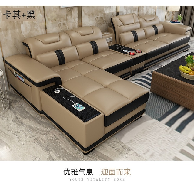 Living Room Sofa set corner sofa speaker real genuine cow leather