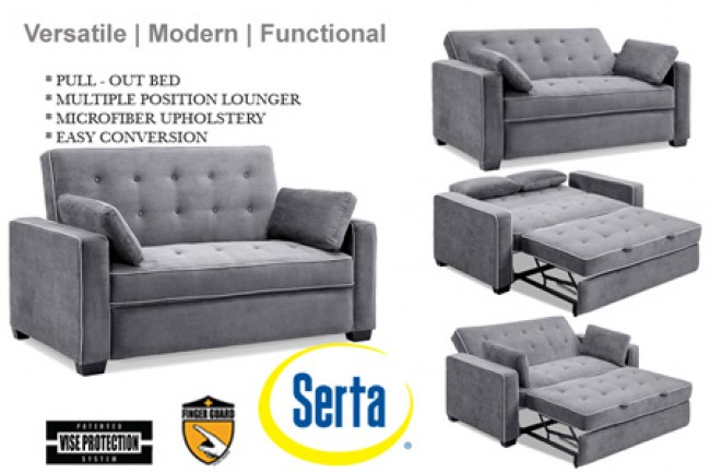 Traditional Couch Futon   Augustine Grey Sofa Sleeper   The Futon Shop