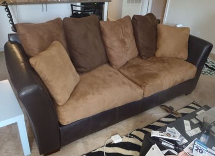 Leather and Suede Sofa Couch | Comfy couch | Pinterest | Suede couch