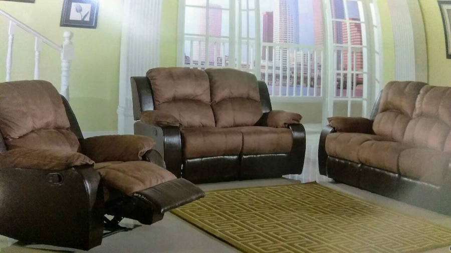 Used brown and black micro-suede couch and loveseat for sale in