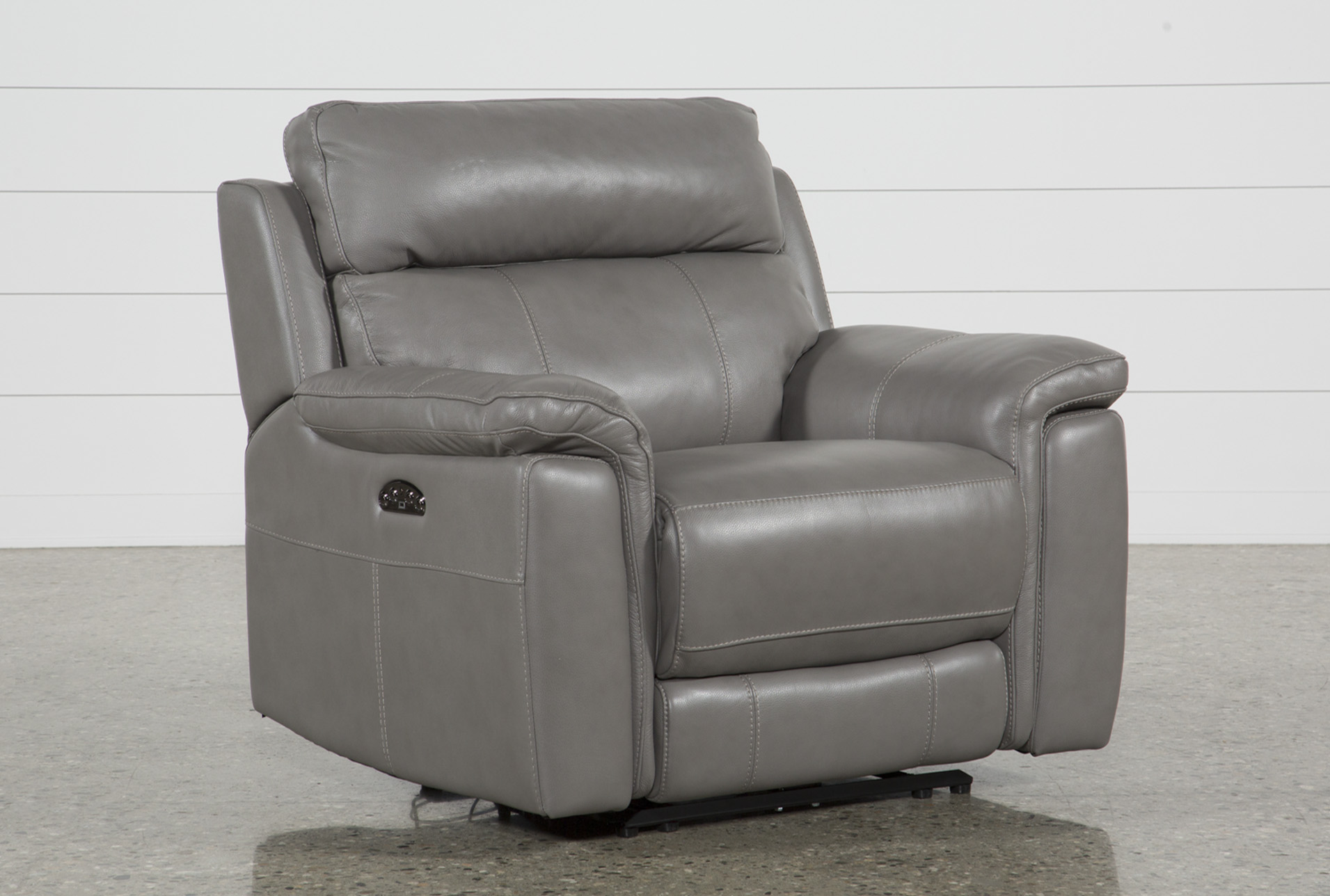 Dino Grey Leather Power Recliner W/Power Headrest & Usb | Living Spaces