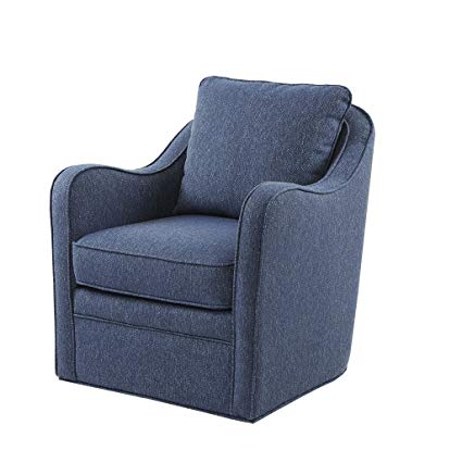 Amazon.com: Brianne Slub Weave Wide Seat Swivel Arm Chair Navy See
