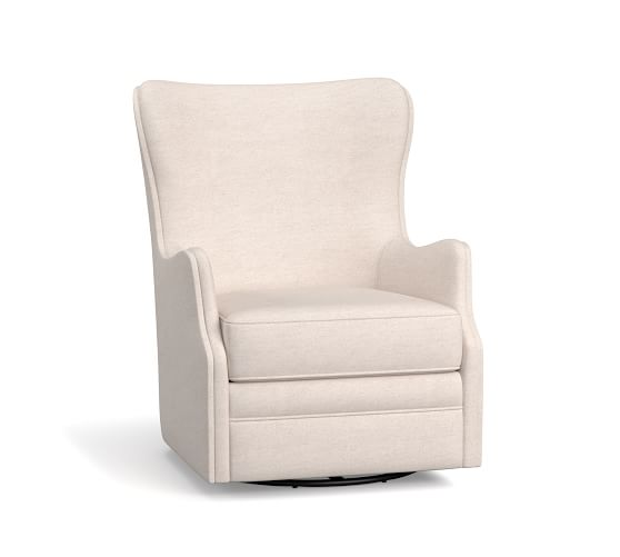 Oliver Upholstered Wingback Swivel Armchair | Pottery Barn