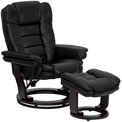 Amazon.com: Rests Leather Recliner Swivel Chairs with Ottoman (Black