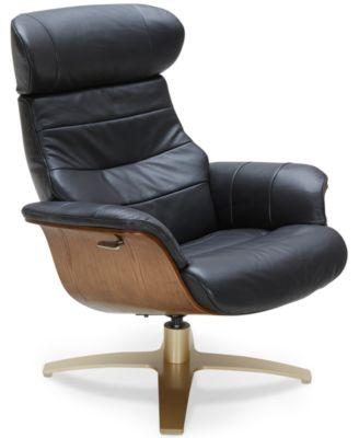 Furniture Annaldo Leather Swivel Chair & Ottoman Collection