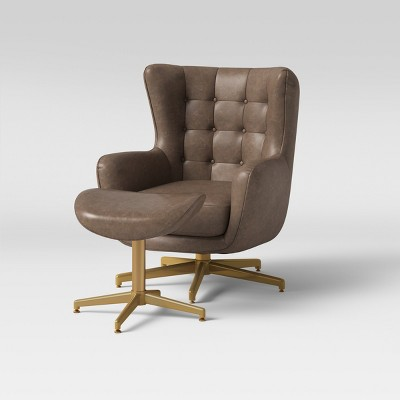 Ordrup Tufted Swivel Chair & Ottoman Faux Leather Brown - Project 62