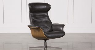 Amala Dark Grey Leather Reclining Swivel Chair | Living Spaces