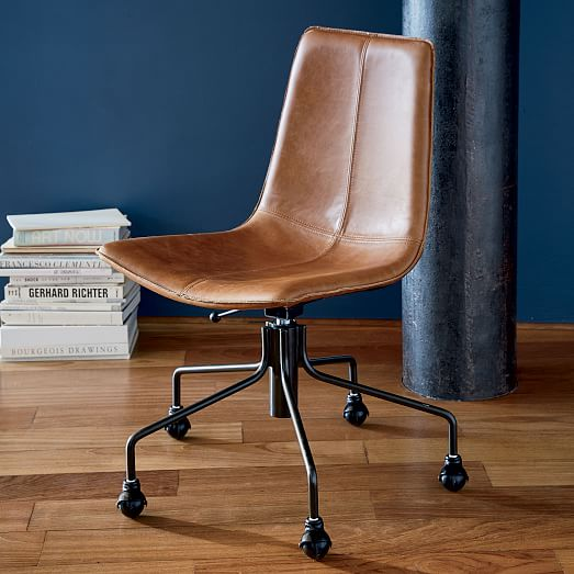 Slope Leather Swivel Office Chair | west elm