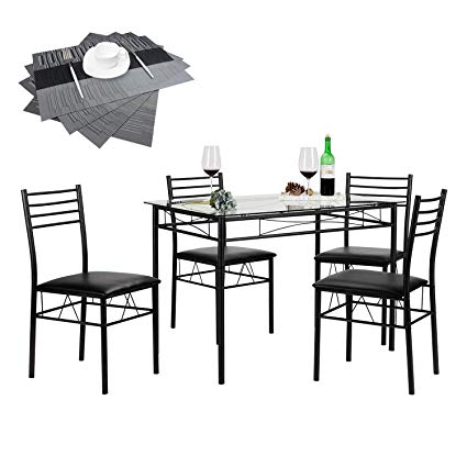 Amazon.com: VECELO 5 Piece Dining Table Set with Chairs [4 Placemats