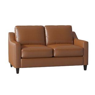 Modern & Contemporary Tan Leather Loveseat | AllModern