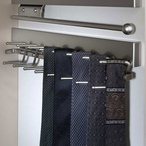 Deluxe Sliding Tie Rack - Satin Nickel in Tie and Belt Racks