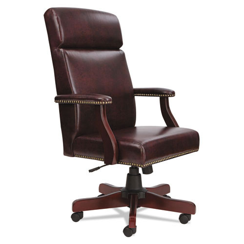 Alera High Back Traditional Office Chair Oxblood Vinyl