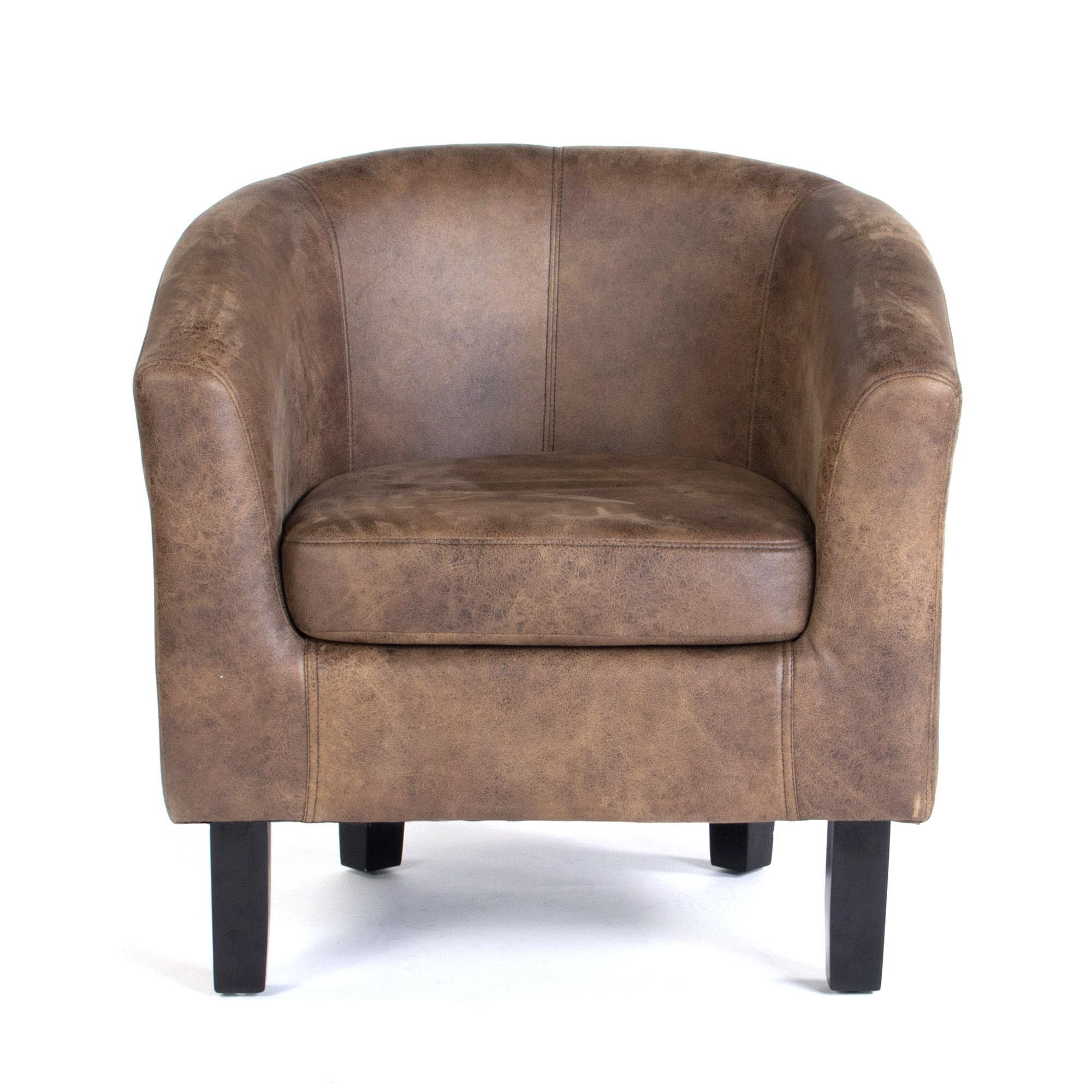 Faux Leather Tub Chair - Tan | Dunelm
