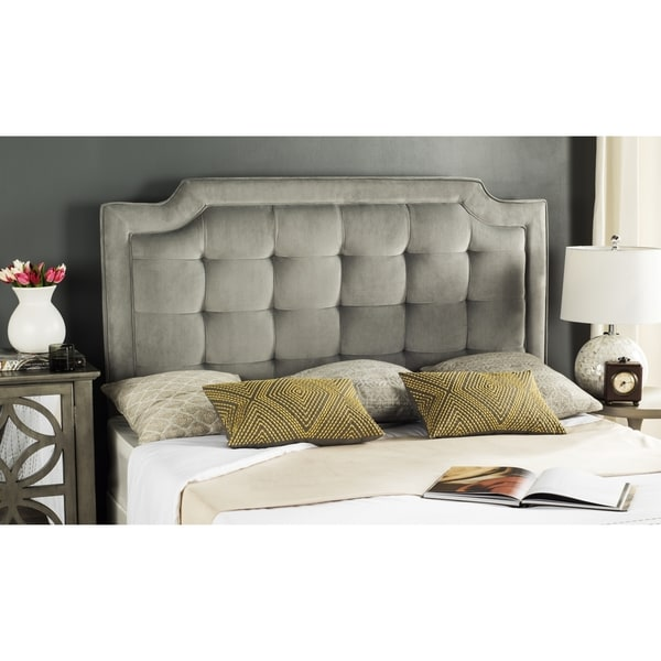 Shop Safavieh Saphire Pewter Upholstered Tufted Headboard (Queen