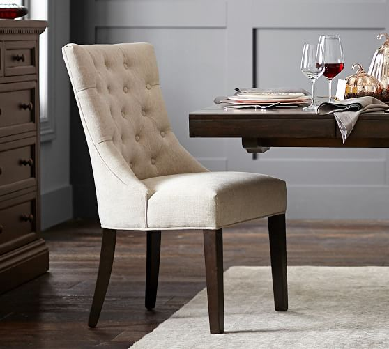 Hayes Tufted Upholstered Dining Chair | Pottery Barn