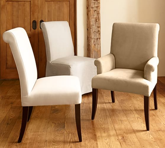 PB Comfort Roll Upholstered Dining Chairs   Pottery Barn