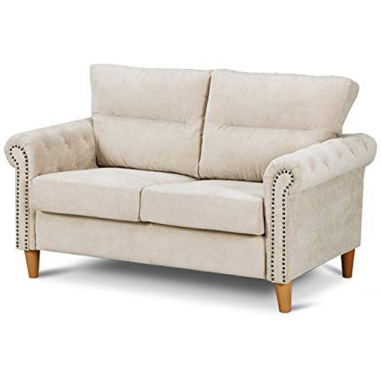 Amazon.com: Giantex Upholstered Loveseat Sofa Couch Linen Fabric