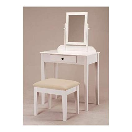 Amazon.com: White Bedroom Vanity Table with Tilt Mirror & Cushioned