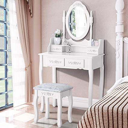 Amazon.com: Mecor Dressing Table with Oval Mirror,Vanity Table Set