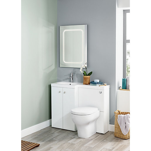 Wickes White L-Shaped Vanity Unit & Basin (LH) | Wickes.co.uk