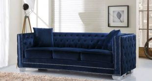 Shop Meridian Reese Navy Velvet Sofa - Free Shipping Today