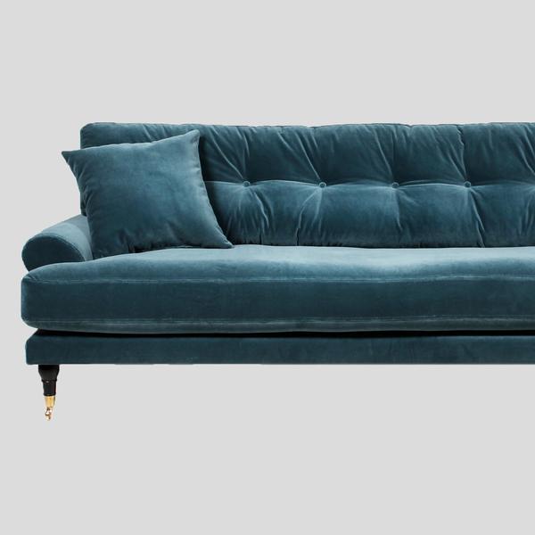 Petrol velvet sofa, Scandinavian design u2013 Att Pynta