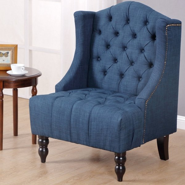 Shop Costway Modern Tall Wingback Tufted Accent Armchair Fabric