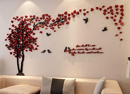Amazon.com: 3d Couple Tree Wall Murals for Living Room Bedroom Sofa