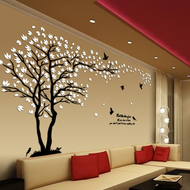 New arrival Lovers tree Acrylic crystal wall stickers DIY art wall