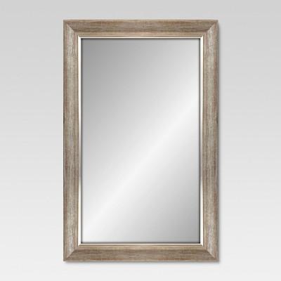 Rectangular Mirror Dark Silvertone Finish With Silver Filet 24
