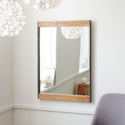 Industrial Metal + Wood Wall Mirror   west elm