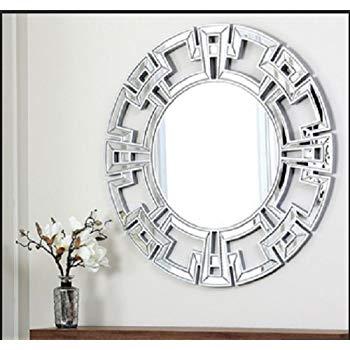 Amazon.com: Abbyson Living Pierre Silver Round Wall Mirror, Wall