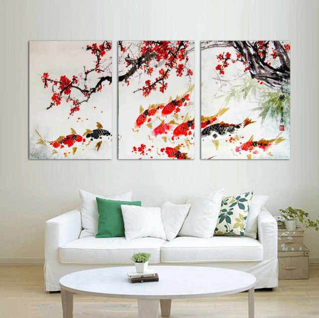 3 Piece Free Shipping Modern Wall Painting Cherry Blossom Koi Fish