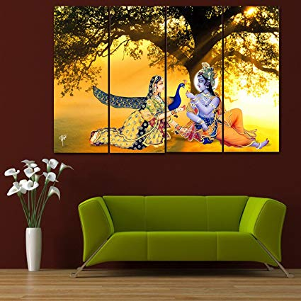 Ray Decor Multiple Sparkling Radha-Krishna Wall Painting - 4 Frames