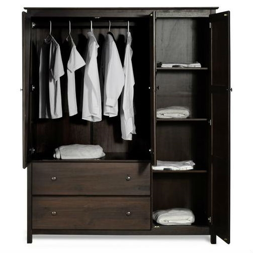 Espresso Wood Finish Bedroom Wardrobe Armoire Cabinet Closet