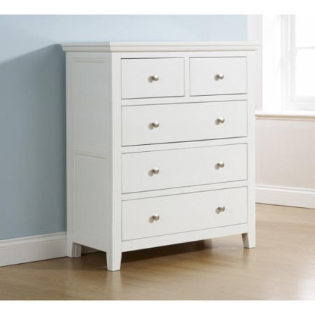 Mountrose Venice Painted White Chest of 5 Drawers | Furniture123