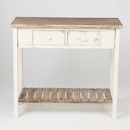 Shop Distressed White Wood Vintage 2-drawer Console Table with