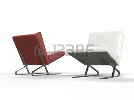Modern Red And White Leather Armchairs - Side View Stock Photo