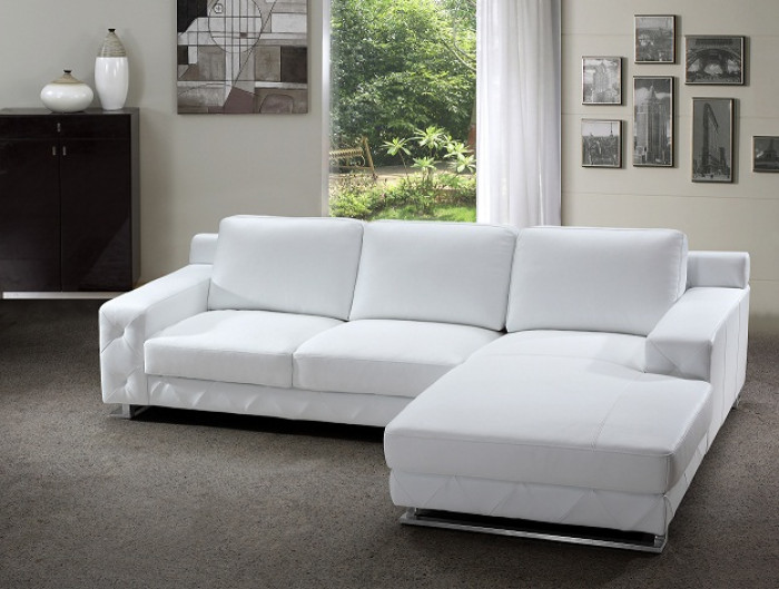 Delta Modern White Leather Sectional Sofa - Sofas + Couches - Living